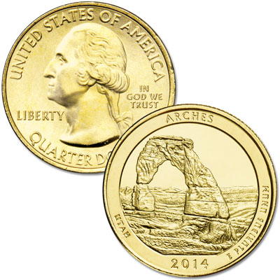 Image for 2014 Gold-Plated Arches National Park Quarter from Littleton Coin Company
