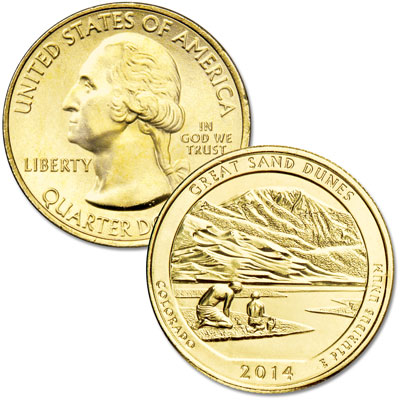 Image for 2014 Gold-Plated Great Sand Dunes National Park Quarter from Littleton Coin Company