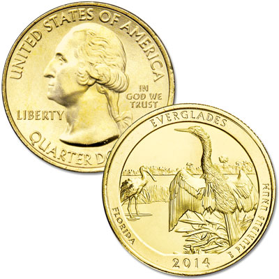 Image for 2014 Gold-Plated Everglades National Park Quarter from Littleton Coin Company