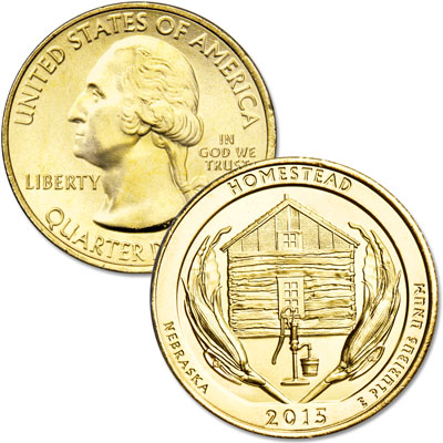 Image for 2014 Gold-Plated Homestead National Monument of America Quarter from Littleton Coin Company