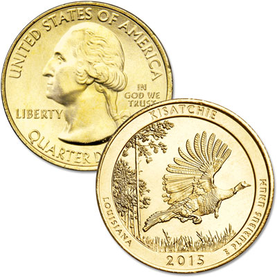 Image for 2015 Gold-Plated Kisatchie National Forest Quarter from Littleton Coin Company