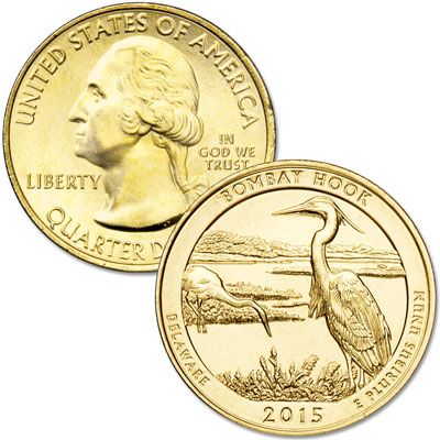 Image for 2015 Gold-Plated Bombay Hook National Wildlife Refuge Quarter from Littleton Coin Company