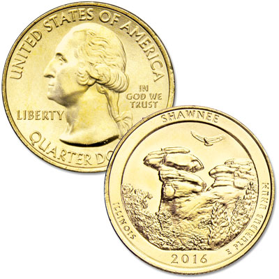 Image for 2016 Gold-Plated Shawnee National Forest Quarter from Littleton Coin Company