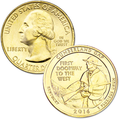 Image for 2016 Gold-Plated Cumberland Gap National Historical Park Quarter from Littleton Coin Company