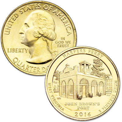 Image for 2016 Gold-Plated Harpers Ferry National Historical Park Quarter from Littleton Coin Company