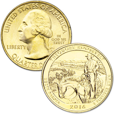 Image for 2016 Gold-Plated Theodore Roosevelt National Park Quarter from Littleton Coin Company