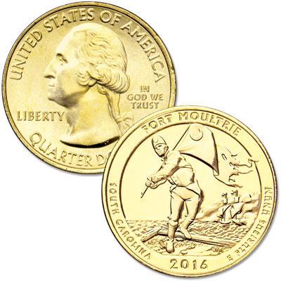Image for 2016 Gold-Plated Fort Moultrie (Fort Sumter National Monument) Quarter from Littleton Coin Company