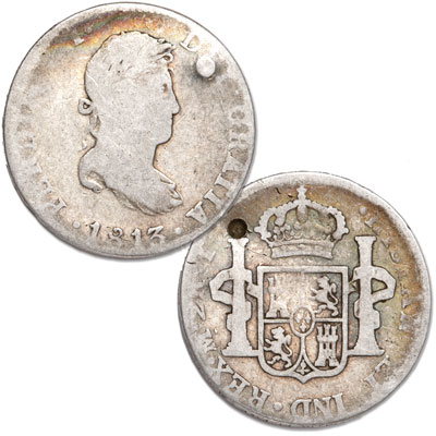 Image for 1812-1828 Spanish Milled Silver 2 Reales with Holes from Littleton Coin Company