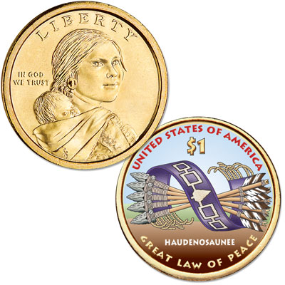 Image for 2010 Native American Dollar with Colorized Reverse from Littleton Coin Company
