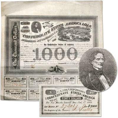 Image for 1863 Confederate States of America $1,000 Bond (Jefferson Davis and Richmond), Circulated from Littleton Coin Company