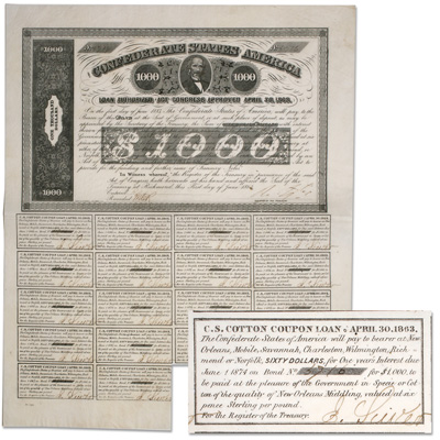 Image for 1863 Confederate States of America $1000 Bond, James A. Seddon from Littleton Coin Company