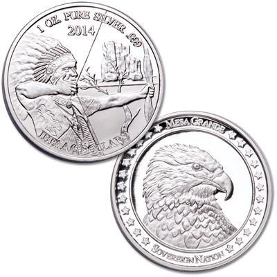 Image for 2014 Mesa Grande Sovereign Nation $5 Silver Archer & Eagle from Littleton Coin Company