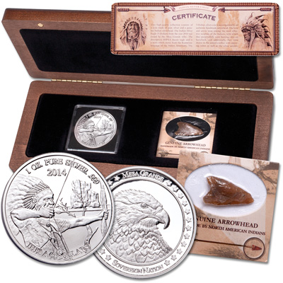 Image for 2014 1 oz. Silver Round Archer with Arrowhead Set from Littleton Coin Company