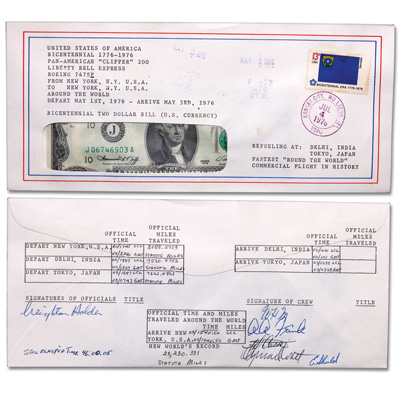 Image for 1976 $2 Round the World, Liberty Bell, Flight Note from Littleton Coin Company