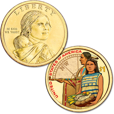 Image for 2014 Native American Dollar with Colorized Reverse from Littleton Coin Company