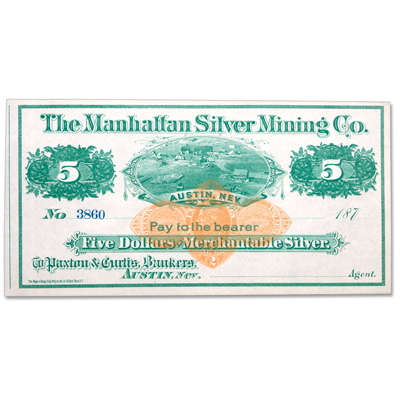 Image for 1870s $5 Manhattan Silver Mining Co. Scrip from Littleton Coin Company