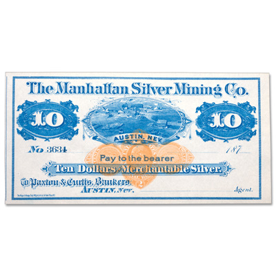 Image for 1870s $10 Manhattan Silver Mining Co. Scrip from Littleton Coin Company