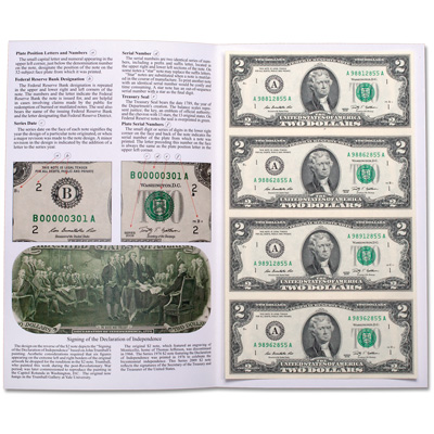 Image for 2009 Uncut Sheet of $2 Federal Reserve Notes from Littleton Coin Company