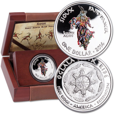 Image for 2014 Sioux Fancy Dancer Silver Dollar in Display Case from Littleton Coin Company