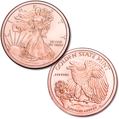Image for Liberty Walking 5 oz. Copper Round from Littleton Coin Company