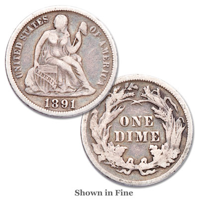 Image for 1837-1891 Liberty Seated Silver Dime from Littleton Coin Company