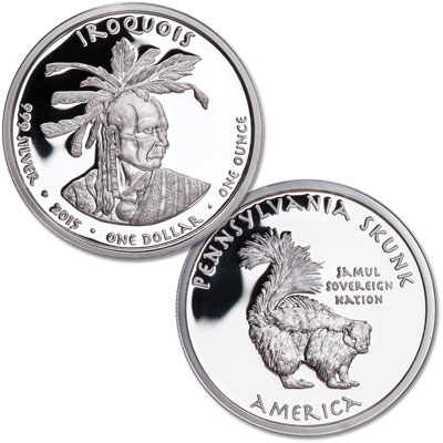 Image for 2015 Jamul Nation Pennsylvania Iroquois & Skunk Silver Dollar from Littleton Coin Company