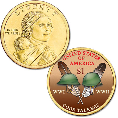 Image for 2016 Native American Dollar with Colorized Reverse from Littleton Coin Company