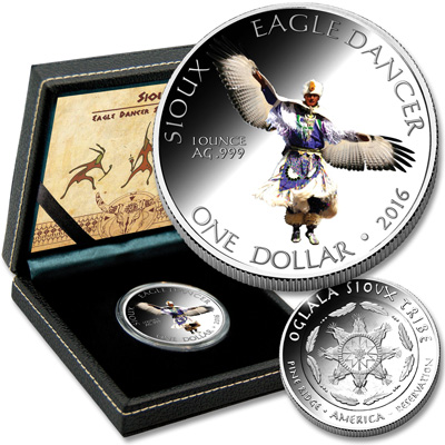 Image for 2016 Sioux Eagle Dancer Silver Dollar in Display Case from Littleton Coin Company