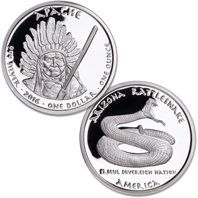 Image for 2016 Jamul Nation Apache Tribes & Rattlesnake Silver Dollar from Littleton Coin Company