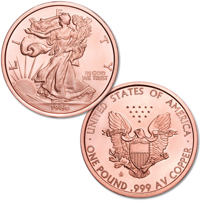 Image for 1986 American Silver Eagle 1 lb. Copper Round from Littleton Coin Company