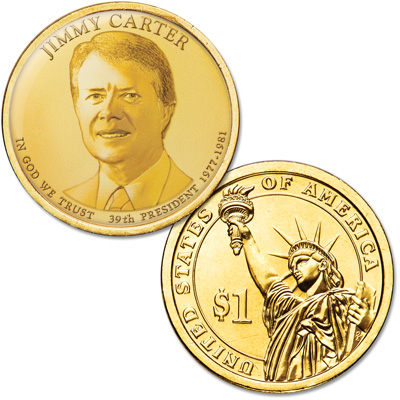 Image for Colorized Presidential Dollar with Golden Hue - Jimmy Carter from Littleton Coin Company
