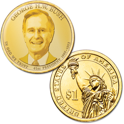 Image for Colorized Presidential Dollar with Golden Hue - George H.W. Bush from Littleton Coin Company
