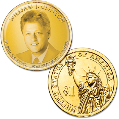 "Image for Colorized ""Modern Presidents"" Dollar with Golden Hue - William ""Bill"" Clinton from Littleton Coin Company"