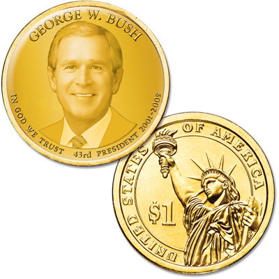 Image for Colorized Presidential Dollar with Golden Hue - George W. Bush from Littleton Coin Company
