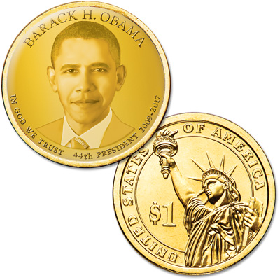 Image for Colorized Presidential Dollar with Golden Hue - Barack Obama from Littleton Coin Company