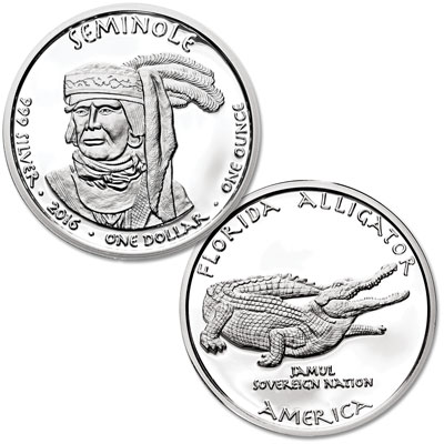 Image for 2016 Jamul Nation Seminole & Alligator Silver Dollar from Littleton Coin Company