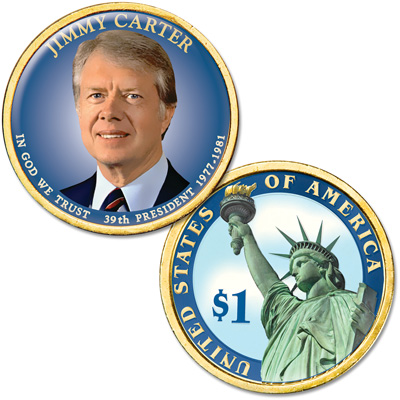 Image for Colorized Domed Presidential Dollar - Jimmy Carter from Littleton Coin Company
