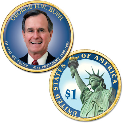 Image for Colorized Domed Presidential Dollar - George H.W. Bush from Littleton Coin Company