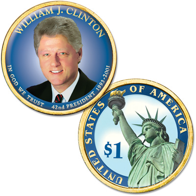 "Image for Colorized ""Modern Presidents"" Dollar - William ""Bill"" Clinton from Littleton Coin Company"