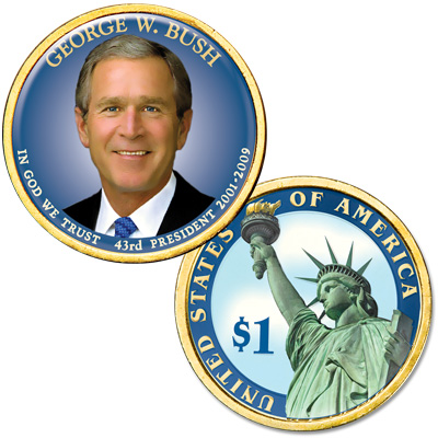 Image for Colorized Domed Presidential Dollar - George W. Bush from Littleton Coin Company