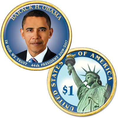 Image for Colorized Domed Presidential Dollar - Barack Obama from Littleton Coin Company