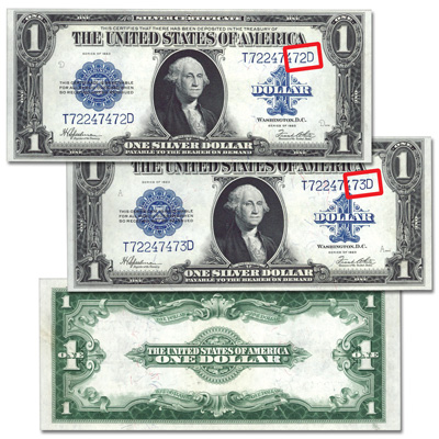 1923 Two Consecutively Numbered 1$ Silver Certificate Set ...