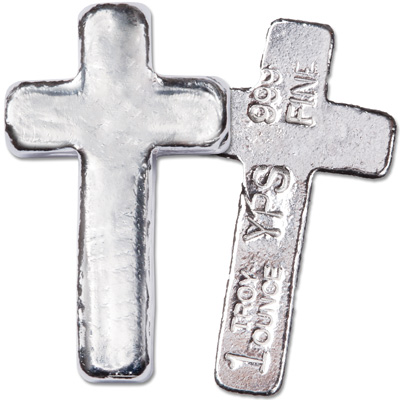 Image for 1 oz. Hand-Poured Silver Cross from Littleton Coin Company