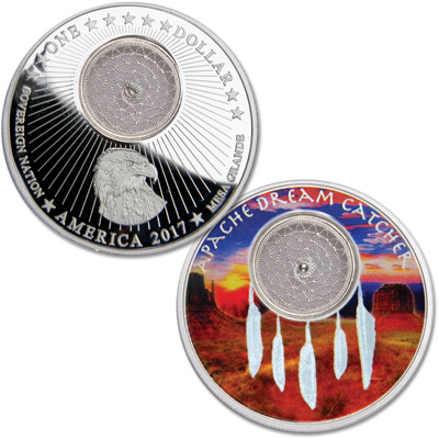 Image for 2017 Mesa Grande Silver Dollar Apache Dream Catcher from Littleton Coin Company