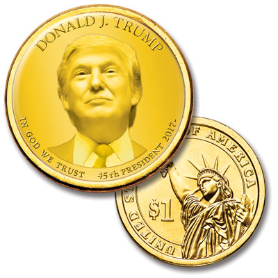 Image for Colorized Presidential Dollar with Golden Hue - Donald Trump from Littleton Coin Company