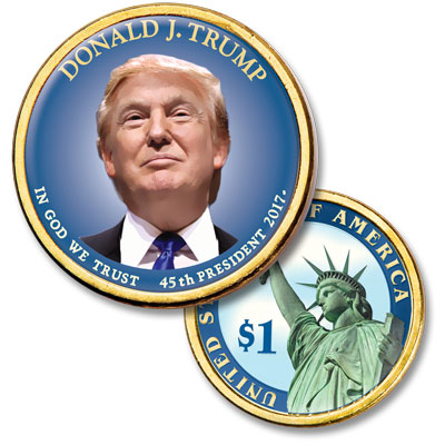 "Image for Colorized ""Modern Presidents"" Dollar - Donald Trump from Littleton Coin Company"