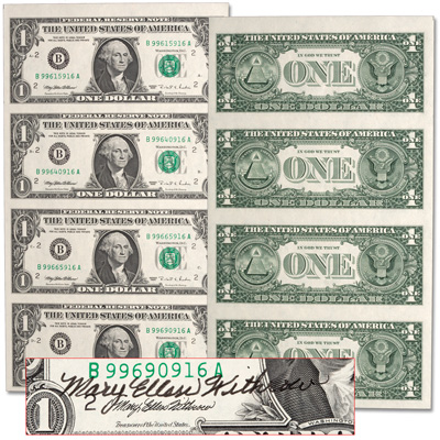 Image for 1995 $1 Federal Reserve Note Sheet from Littleton Coin Company