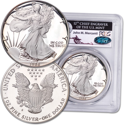 Image for 1986-S Silver American Eagle with Mercanti Signature from Littleton Coin Company