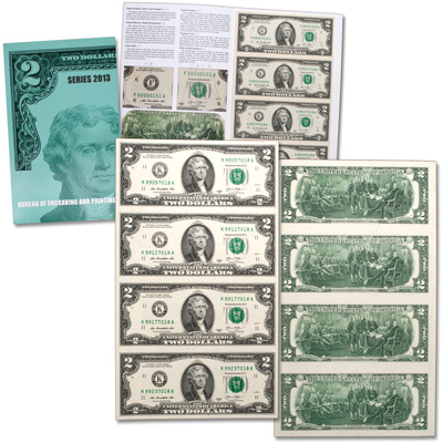 Image for Uncut Sheet of $2 Federal Reserve Notes from Littleton Coin Company