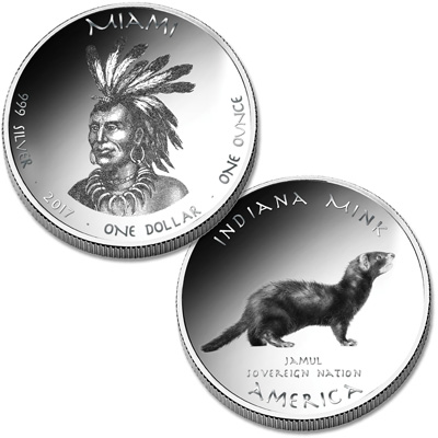 Image for 2017 Jamul Nation Miami & Mink Silver Dollar from Littleton Coin Company